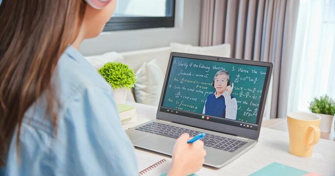 female student learn math online