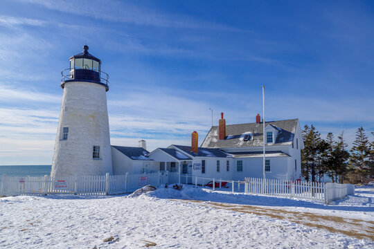 Pemaquid Point Lighthouse and Keepers House during winter, Maine, USA