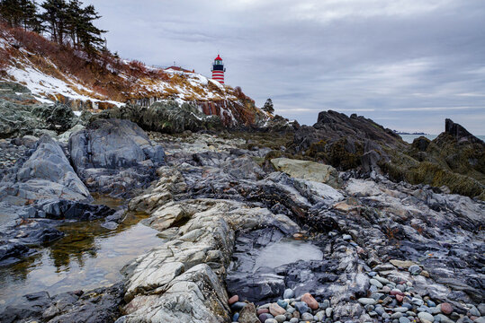 West Quoddy Head Light,  Lubec, Maine, is the easternmost point of the contiguous United States.