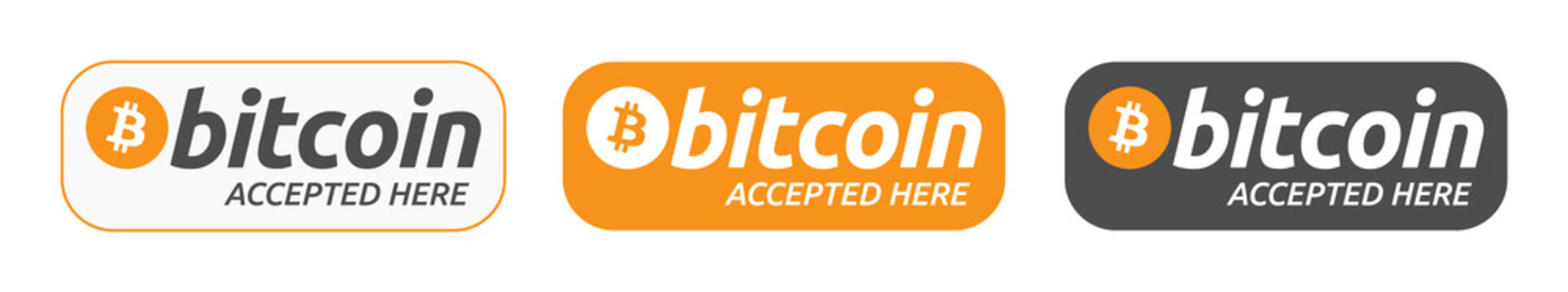 Bitcoin Accepted Here Banner Collection. Set of Banners to Show Bitcoin Cryptocurrency Payments are Accepted on Online Store. Pay with Bitcoin Button or Banner