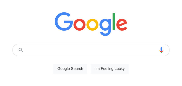 Google Search Bar Vector. Classic Desktop Search Bar Screen Mockup with Google Logo and Google Voice Search Icon. Vector Google SERP Elements Template