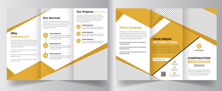 Creative construction colorful business trifold brochure template design for creative, architecture, corporate company leaflet, magazine, annual report, booklet, business plan, print and promotion