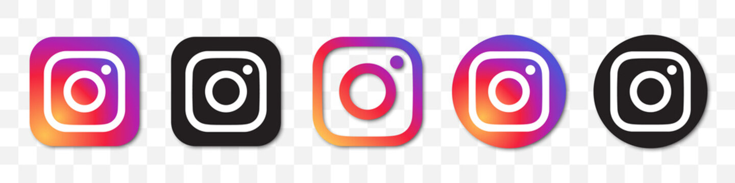 Instagram logo collection. Set of different Instagram icons with shadow