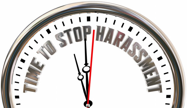 Time to Stop Harassment Clock End No Abusive Behavior Sexual Crime 3d Illustration