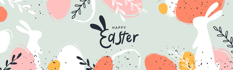 Happy Easter banner. Trendy Easter design with typography, hand painted strokes and dots, eggs and bunny in pastel colors. Modern minimal style. Horizontal poster, greeting card, header for website Fototapete