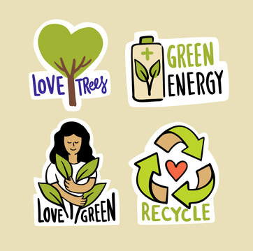 Ecologic labels. Eco safe emblems, green logo lettering. Sticker or ecological sign concept.