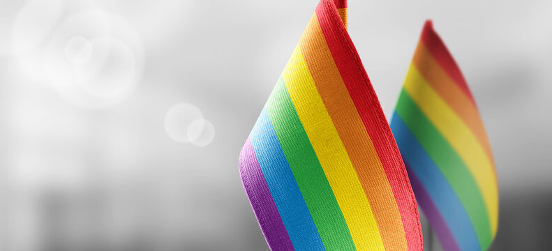 Small national flags of the lgbt on a light blurry background