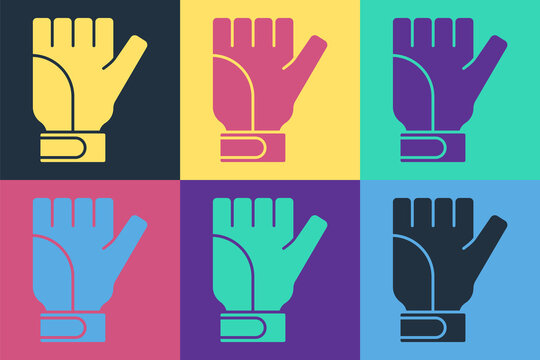 Pop art Gloves icon isolated on color background. Extreme sport. Sport equipment. Vector.