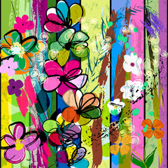 abstract background composition with flowers, stripes, paint strokes and splashes