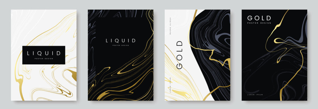 luxury poster design. Collection of liquid gold marble texture on black and white background. Set of premium banners, a4 size. Ideal for flyer, wedding invitation, cover, business card. Vector eps 10