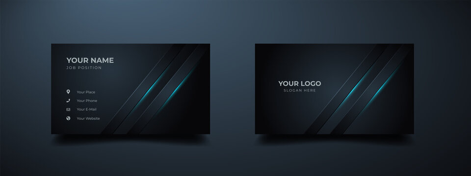 Futuristic business card design. Modern shape with abstract silver. Luxury dark gradient background. Vector illustration print template.