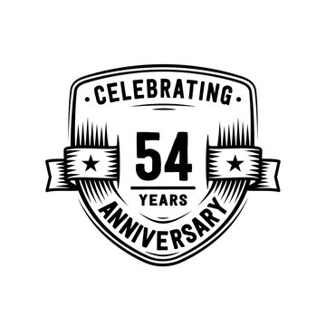 54 years anniversary celebration shield design template. Vector and illustration
