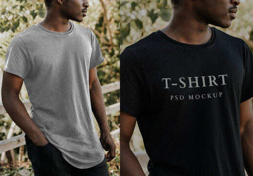 Man Wearing Black Tee Mockup
