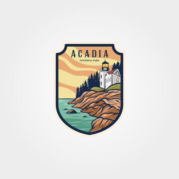 acadia national park logo sticker patch vector symbol illustration design