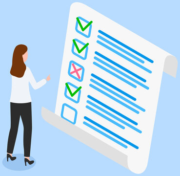 Woman studying questionnaire. Female character checks and grades test. Exam assessment concept. Cartoon character standing near big checklist and summarizing results. Girl studies form with answers