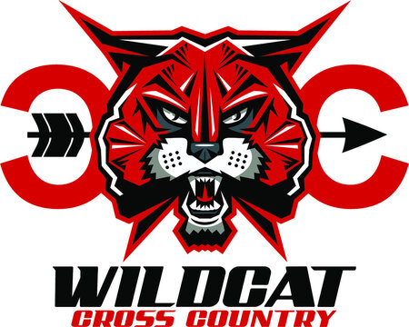 wildcat cross country team design with mascot for school, college or league