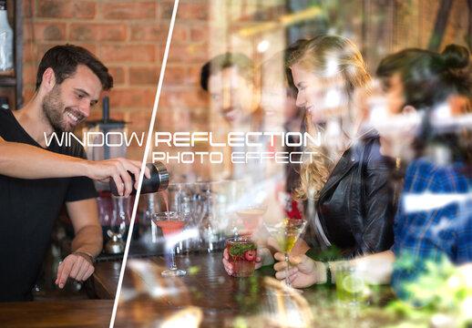 Window Glass Reflection Photo Effect Mockup