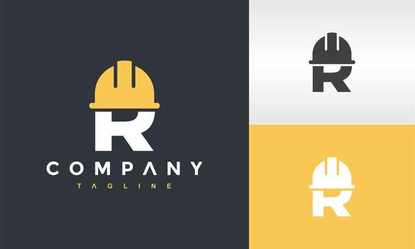 initials R cap construction logo