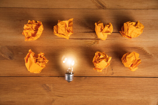 great idea concept with crumpled paper and light bulb