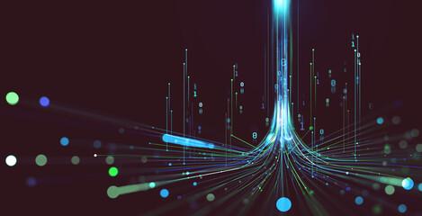 Fototapeta Electrical impulse, binary code. Futuristic wave. Neon Streaming. Data stream 3D illustration. Data funnel stream technology. Cyberpunk funnel obraz