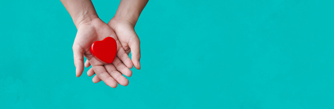 person holding a heart in his hands with blue background