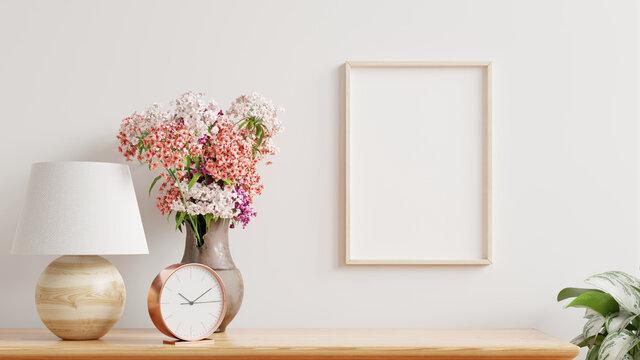 Mockup frame on shelf in living room interior,Scandinavian style.
