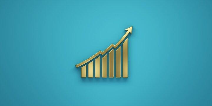 Finance Stock curve in gold golden color. 3D Render Illustration