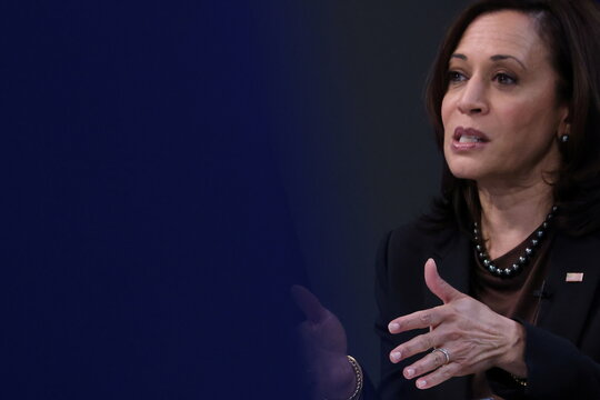 U.S. Vice President Harris delivers a keynote address to the House Democratic Caucus virtually on camera from the White House in Washington