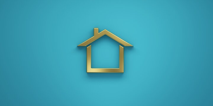 House in gold golden color for real estate. 3D Render Illustration