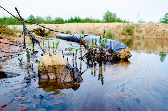 Oil leak in the reservoir. Protection of water bodies from pollution.
