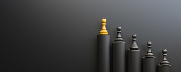 Fototapeta Leadership and growth concept, yellow pawn of chess, standing out from the crowd of black pawns, on black background with empty copy space on left side. 3D Rendering