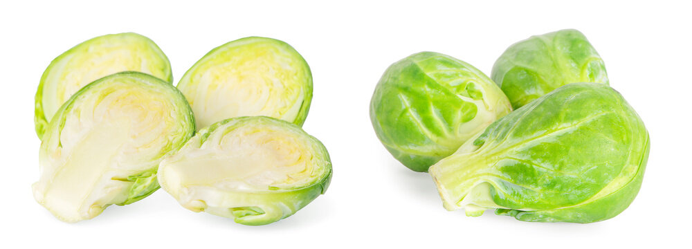 brussel sprouts vegetable an isolated on white background.