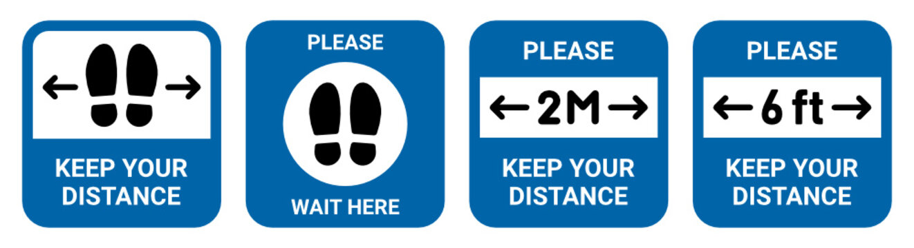 Social Distancing set, Covid-19 sign, Keep your distance, Wait here