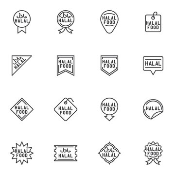 Halal food badge line icons set, outline vector symbol collection, linear style pictogram pack. Signs, logo illustration. Set includes icons as certified halal food label, price tag, quality award