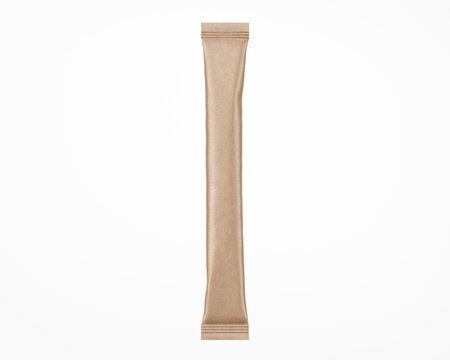 Kraft Stick Sachet Mockup - 3D Illustration Isolated on White, Top View