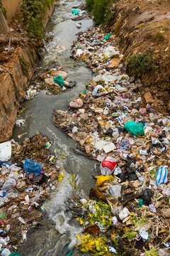 Heavily polluted river