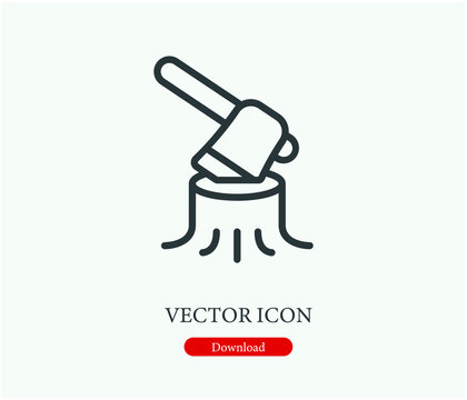 Wood cutting vector icon.  Editable stroke. Symbol in Line Art Style for Design, Presentation, Website or Apps Elements. Pixel vector graphics - Vector