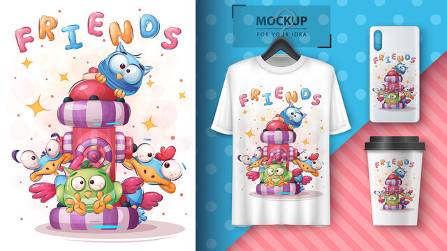 Cute bird - poster and merchandising.