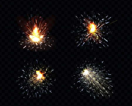 Sparks fire set, sparkler, petard weld or firework flare. Bright glowing light with scatter flying particles isolated on black or transparent background background, Realistic 3d vector illustration