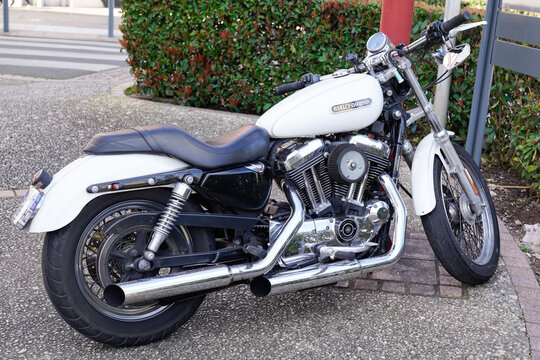 Harley-Davidson Sportster roadster motorbike with logo sign on white tank of american custom Motorcycle