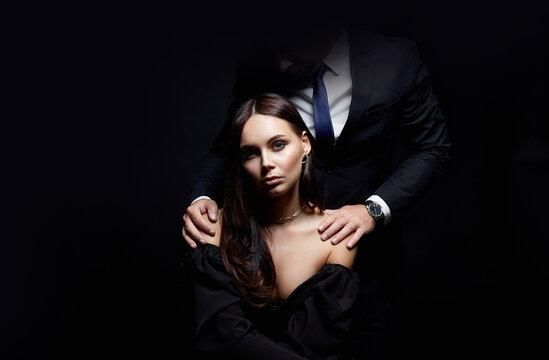 beautiful woman with man dark. Couple