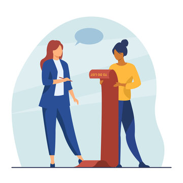 Successful businesswomen checking to do list. Manager, goal, target flat vector illustration. Achievement and success concept for banner, website design or landing web page