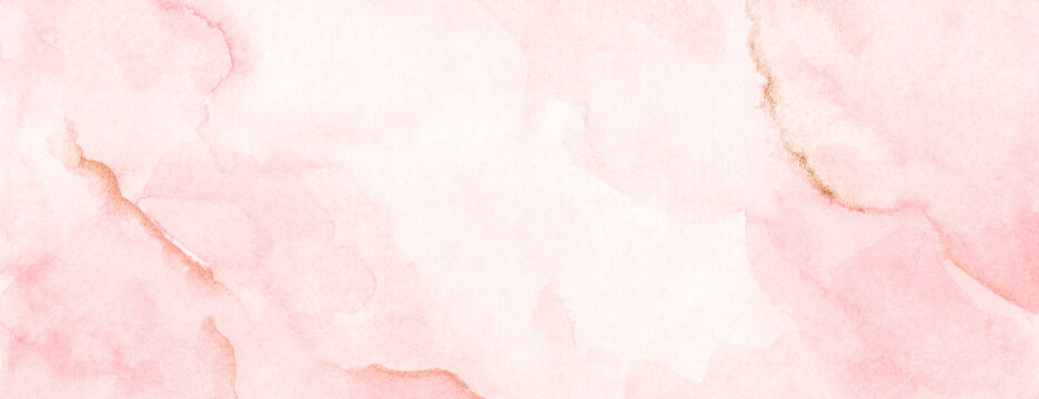 Abstract horizontal background designed with soft tone watercolor stains. Soft pink and gold.