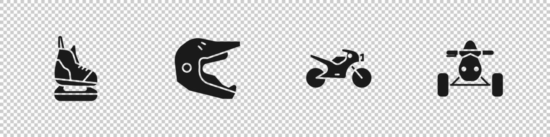 Set Skates, Motocross motorcycle helmet, Motorcycle and ATV icon. Vector.