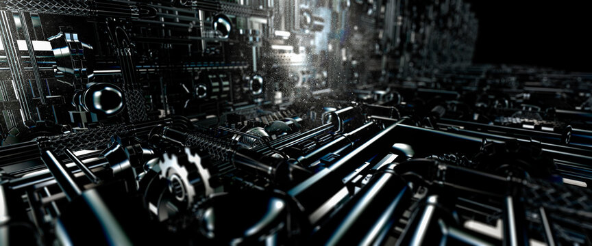 Industrial machinery made from pipes and gears in a science fiction style 3d render