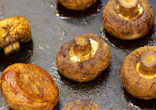 Baked mushrooms champignons in the oven.
