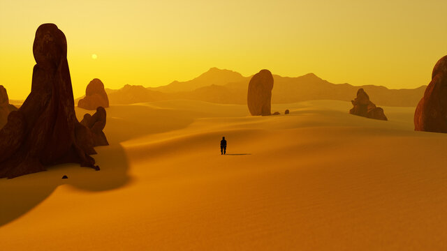 lonely man in the dry sunset desert