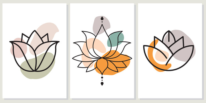 Abstract boho art background, cover or wall art with hand-drawn lotus