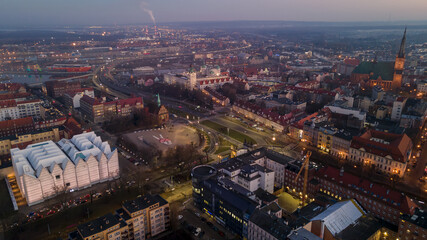 Fototapeta Poland, Szczecin 03/03/2021. Panorama of the city, view from the drone. The photo shows the building of the Philharmonic Mieczyslaw Karlowicz