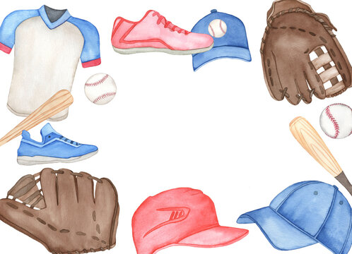 Watercolor baseball set, painted on white background, hand drawn